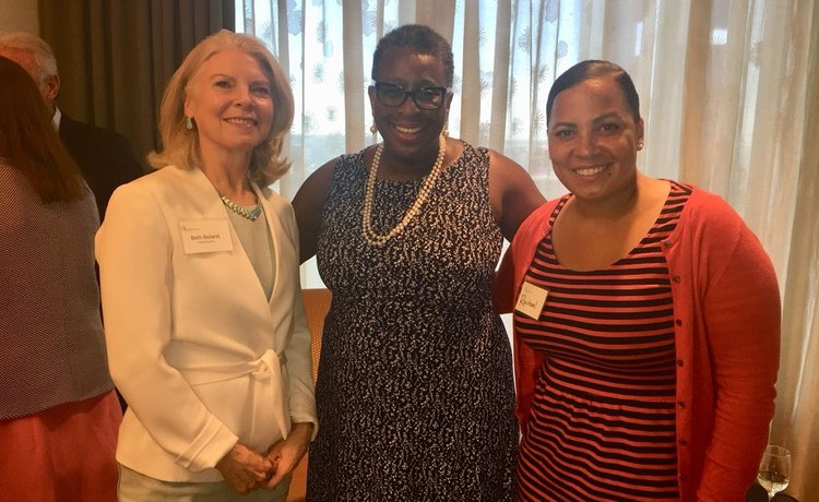 Rachael, Beth Boland, and Mayor of Framingham Yvonne Spicer at Emerge MA's graduation..