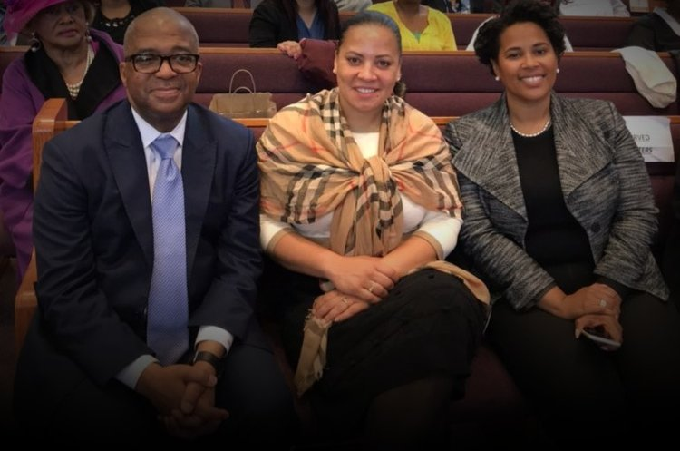 Rachael at Morning Star Baptist Church in Mattapan with Bishop John M. Borders, III and Boston NAACP President Tanisha Sullivan.